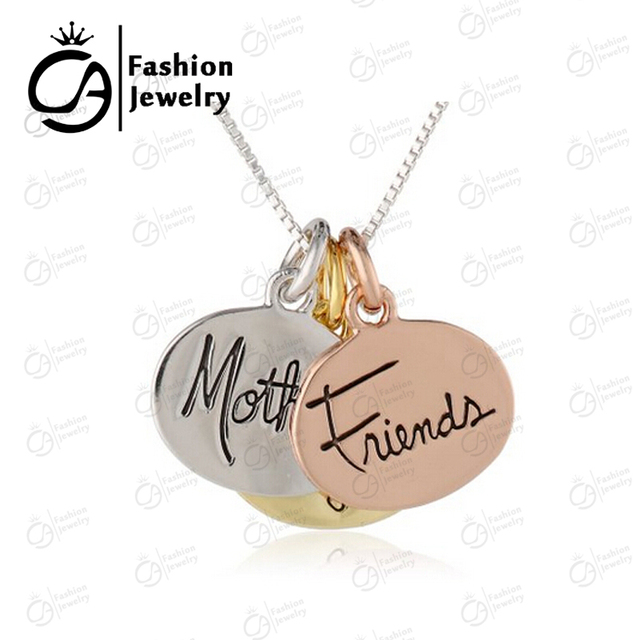 3 colored silver rose gold yellow gold mother daughter friends 3 colored silver rose gold yellow gold mother daughter friends inspirational pendant necklace 20pcs aloadofball Images