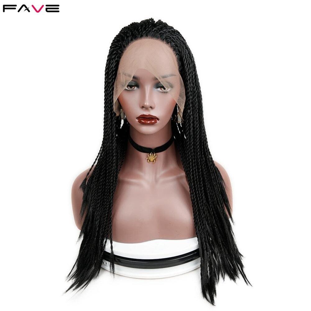 Dentelle synthétique avant torsion tresses perruques noir gris résistant à la chaleur Crochet torsion tressage cheveux pour les femmes partie longue perruque synthétique