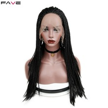 Synthetic Lace Front Twist Braids Wigs Black Grey Heat Resistant Crochet Twist B