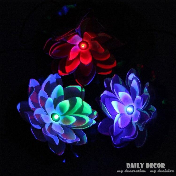 Солнечный Лотос набор! Искусственный Пластиковые цветы лотоса с светодиодные фонари Солнечный водяной лилии плавающий для бассейнов украш...