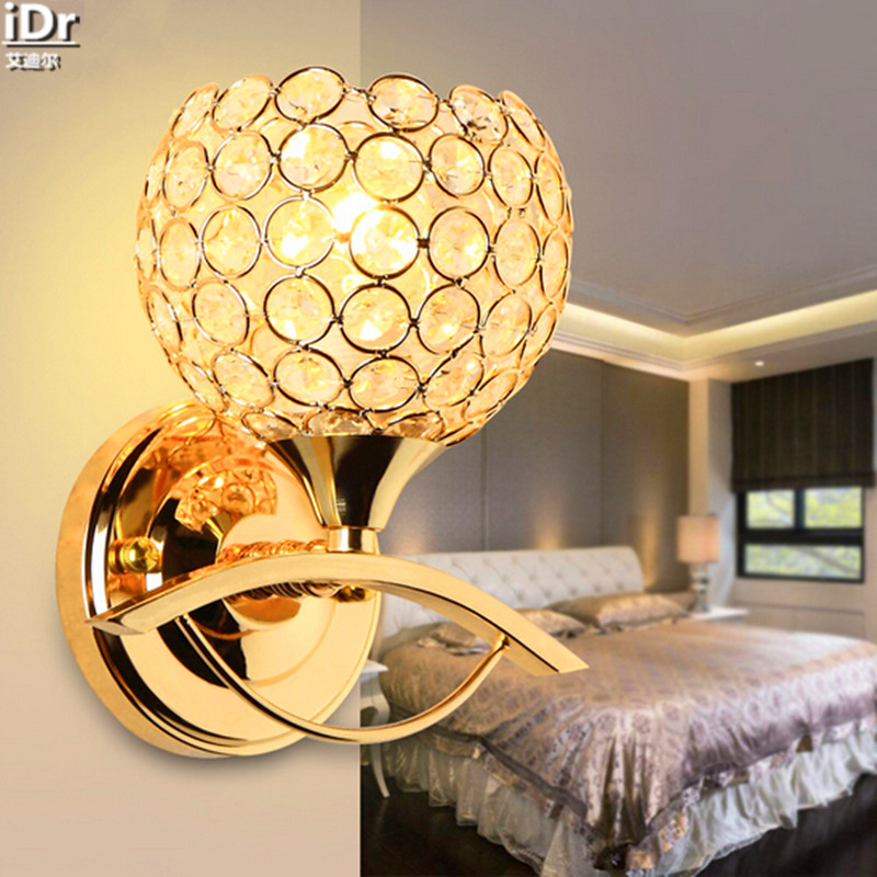 Creativity led bedside lamp modern minimalist living room bedroom crystal lamp aisle stairs Wall Lamps  Rmy-0297 european style crystal wall lamp bedside lamp bedroom living room crystal wall lights aisle stairs hotel restaurant wall lamps