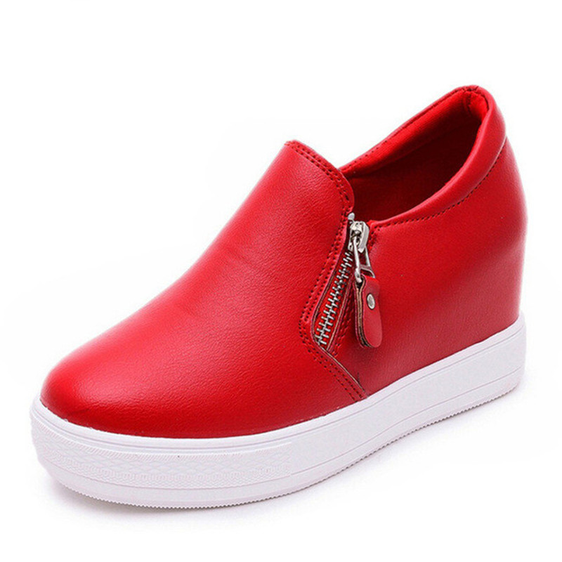 Cuero Mujer Grueso Las Nuevas Tacón Aumento Altura La blanco Mujeres Negro rojo Plataforma Tobillo 2019 De Botas Pu Cómodo Zapatos q1pwSSWIa