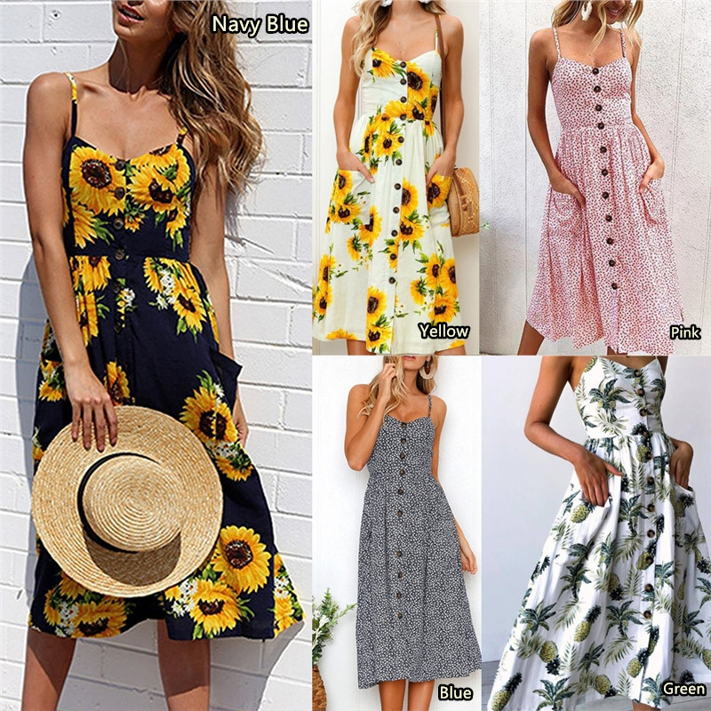 Women Summer Dress 2019 Sexy Floral Printed Spaghetti Strap Sundress Fashion Backless Pocket Sunflower Beach Dress Plus Size