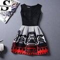 New Casual Mulheres Vestido do Verão 2017 Preto Sem Mangas Impressão Vestidos de Festa Das Senhoras Estilo Vintage vestidos de festa vestido de verão feminino