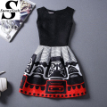 New Casual Women Summer Dress 2017 Black Sleeveless Print Party Dresses Ladies Vintage Style sundress female vestidos de festa
