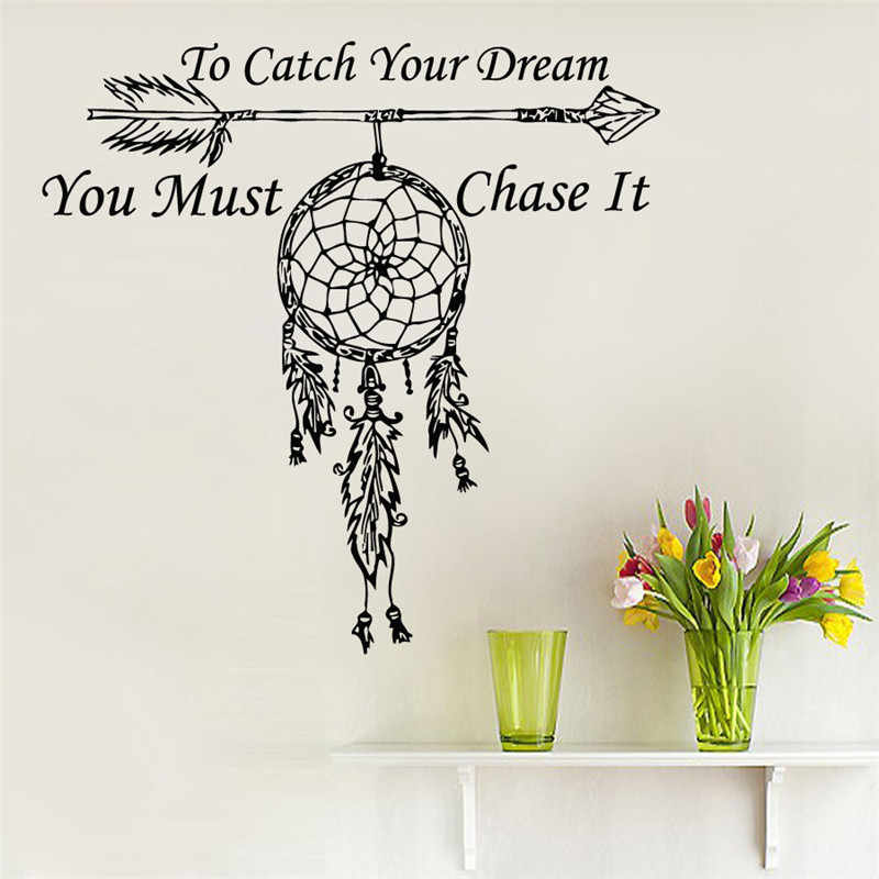 Wall Decals Quote To Catch Your Dream Catcher Vinyl Sticker Feather Arrow Wall Decals Wall Decals Quotesdecals Quotes Aliexpress