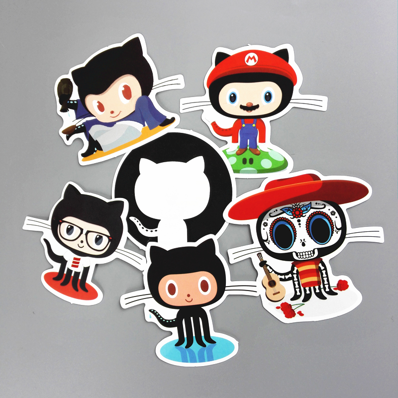 4 Combinations Github Car Styling Sticker Waterproof Skateboard Decal Travel Stickers For Suitcase Car Accessories Motos Decals