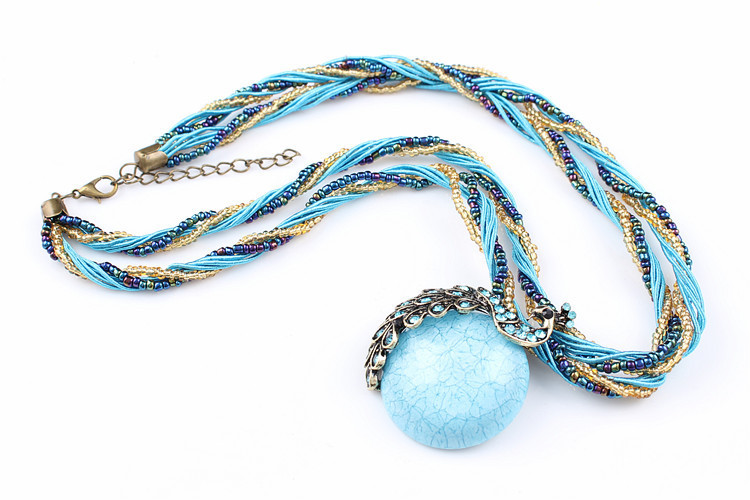 ZOSHI Blue natural crystal stone pendant necklace fashion peacock pendant necklace for women jewelry 16