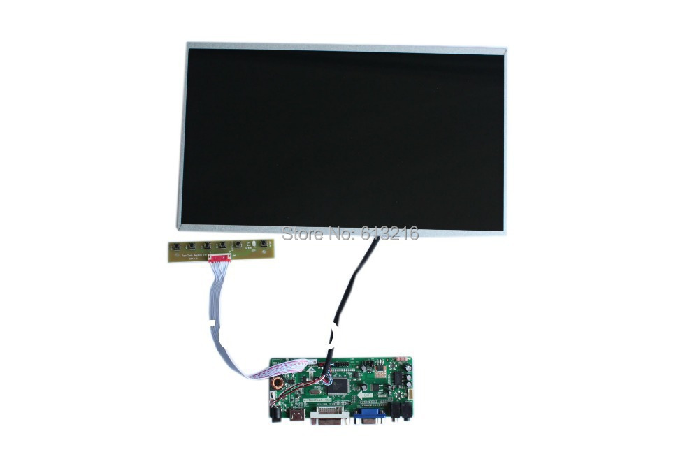 HDMI+DVI +VGA +Audio  of LCD driver board +LP140WH4-TLA1 1366*768 +LVDS cable +OSD keypad with cable m nt68676 lcd led controller driver board for b116xw01 v 0 hdmi vga dvi audio 1366 768 pc