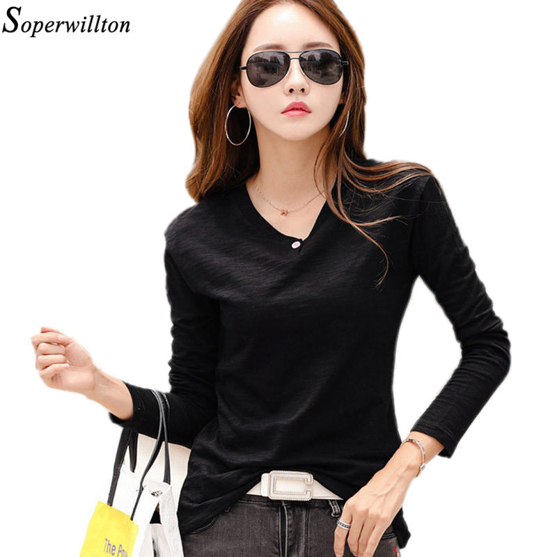 Women Tshirt 2019 Spring Long Sleeve Button Shirt T-Shirt 100% Bamboo Cotton Korean Female Lady Top Camiseta Feminina Black G74