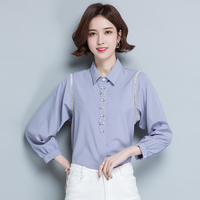 Autumn Ladies hollow Long Sleeve Fashion casual blouse tops