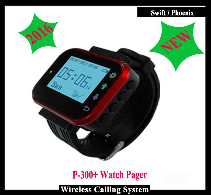 New Arrival,Wireless Waiter Calling Pager watch for Wireless calling system wireless pager system 433 92mhz wireless restaurant table buzzer with monitor and watch receiver 3 display 42 call button