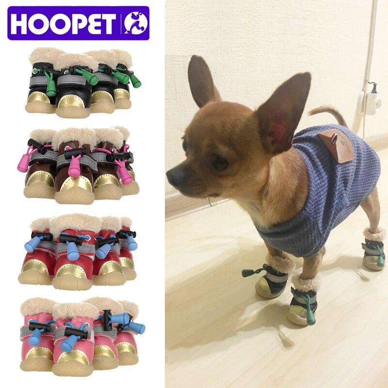 HOOPET Pet Boots Dog Shoes Puppy Winter Warm Cotton Four Colors