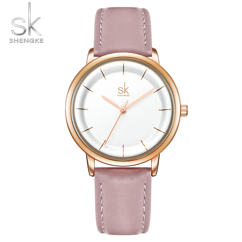 Shengke Elegant New Women Watches Ultra Thin Dial Leather Strap Quartz Japanese Movement Montre Femme Ludies Wristwatch