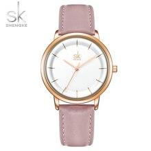 Shengke Elegant New Women Watches Ultra Thin Dial Leather Strap Quartz Japanese Movement Montre Femme Ludies Wristwatch