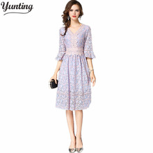 yunting Lace Dress Europe Autumn Women's Flare sleeve Hollow out Casual Clothing Fashion Vestidos Sexy Slim Party Dresses