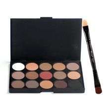 15 Colors Makeup Eyeshadow+Double-headed Eye Shadow Brush And Eye Shadow Stick Kit Matte Pigment Glitter Eyeshadow Palette