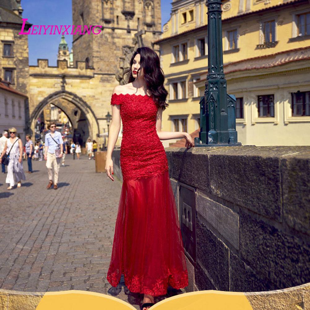 LEIYINXIANG Bling Prom Dress Nuevo Vestido de Noche Largo Piso Longitud de La Sirena Que Rebordea Lentejuelas Sexy Mermaid Lace in Celebrity Inspired Dresses from Weddings Events