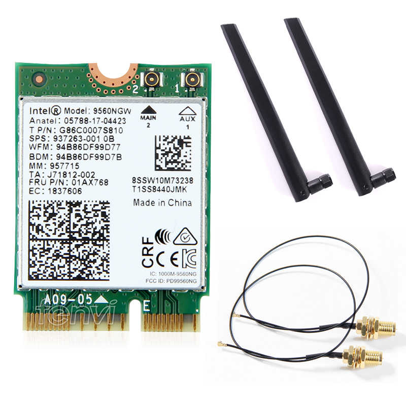 Dual Band kablosuz Intel 9560 AC 9560NGW 1.73Gbps Wifi 802.11ac Bluetooth 5.0 Wlan kartı MHF4 UF. L antenler Windows 10