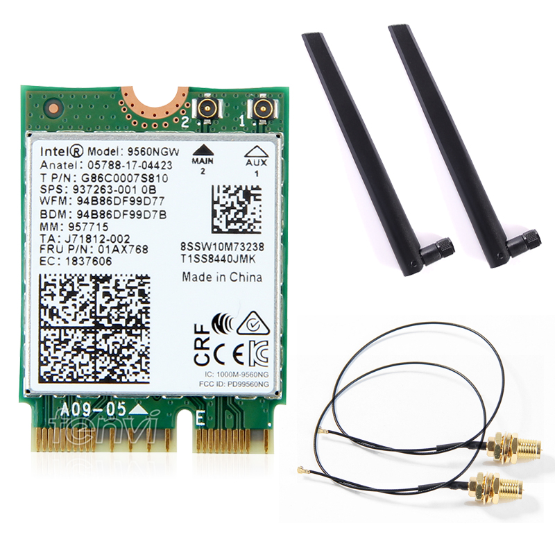 Dual Band Wireless For Intel 9560 AC 9560NGW 1.73Gbps Wifi 802.11ac Bluetooth 5.0 Wlan Card With MHF4 UF.L Antennas Windows 10