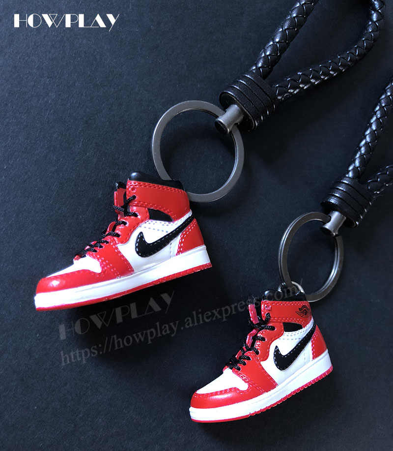 low priced a8054 1ad0e ... Howplay AJ1 sneaker keychains 3D mini basketball shoes model backpack  pendant keyring creative gifts toy for ...