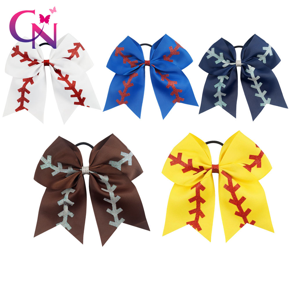 "20 Pcs/lot 7"" Solid Ribbon Baseball Cheer Bow With Glitter For Girls Kids Handmade Large Elastic Hairband Hair Accessories"
