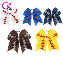 "20 Pcs/lot 7"" Solid Ribbon Baseball Cheer Bow With Glitter For Girls Kids Handmade Large Elastic Hairband Hair Accessories(China)"