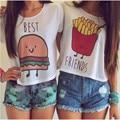 2017 Sweet Crop Tops Women O-neck Best Friends Printed T-shirt White Summer Short Sleeve Best Friend Tees Couple Tops Vrouwen