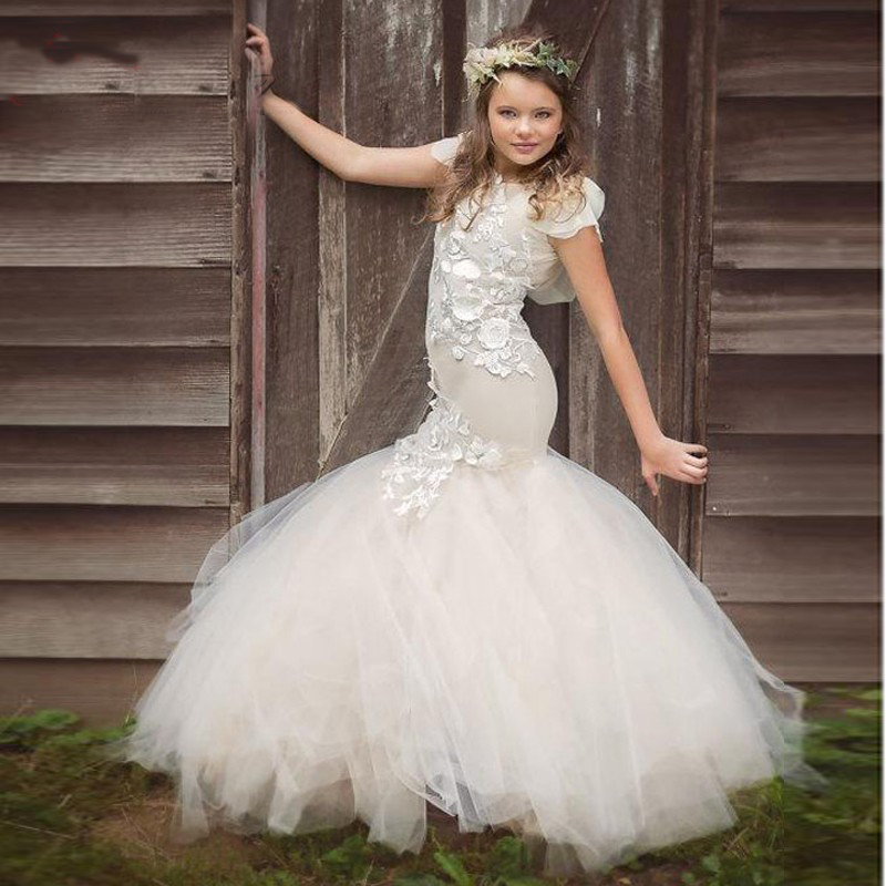 2017 New Mermaid Flower Girls Dress For Weddings Lace Appliques Tulle Sleeveless Pageant Gowns Party First
