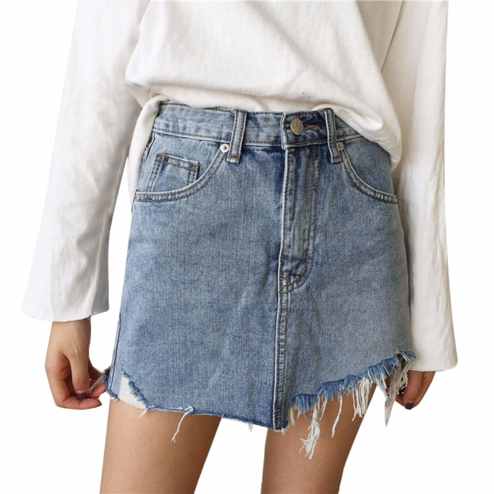 Summer Pencil Skirt High Waist Washed Women Skirts Irregular Edges Denim All Match Mini Plus Size S-L