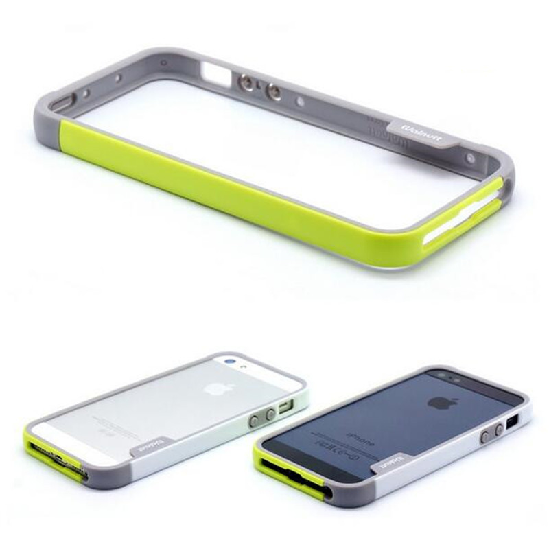 Free shipping fashion sotf multicolor bumper frame for iphone 5 5s case durable silicone 2 colors in one cell phone bumper case