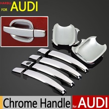Car Handle Stickers For Audi A4 B8 Q3 Q5 Accessories Chrome Door Handle Cover 2009 2010 2011 2012 2013 2014 2015 Car Styling