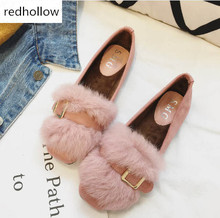 цена на Fur flats belt buckle design shoes autumn moccasins feather fur loafers slip on shoes rabbit hairs espadrilles belt hasp