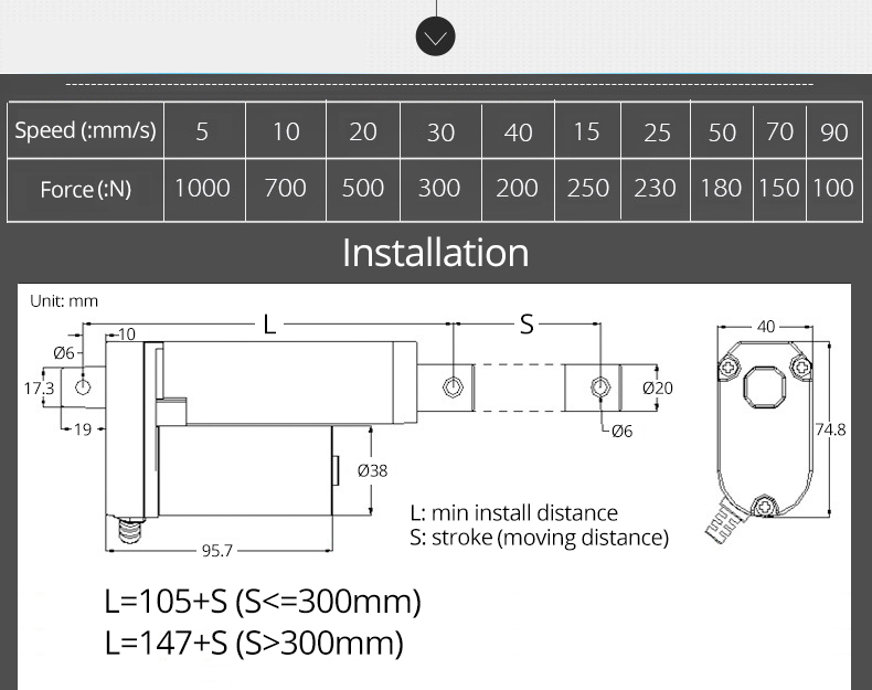 Linear elétrico distância em movimento 50 milímetros