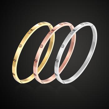 Theresa biżuteria klasyczna z cyrkonią uwielbia bransoletkę i bransoletkę ze stali nierdzewnej modna bransoletka unisex z everbody modna biżuteria na prezent tanie i dobre opinie Bransolety Moda Klasyczny Fateama STAINLESS STEEL Złoto-kolor Brak ROUND THB18082804 None No Stone Rhodium Gold Rose Gold