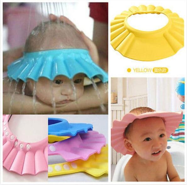 Bebê Chuveiro Ajustável Cap Crianças Shampoo Wash Escudo Cabelo Hat Banho Bebes