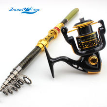 Lowest Profit 1.8-3.0M Carbon Telescopic Fishing Rod And 12BB Spinning Fishing Reel Fishing Tackle Set Kit Vara De Pesca