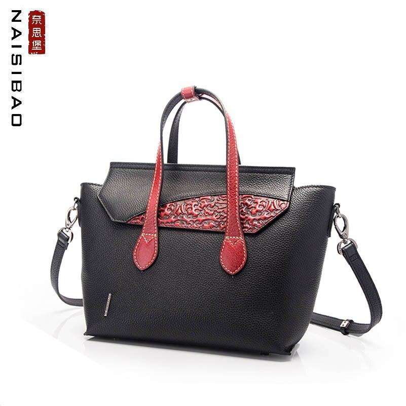 где купить NAISIBAO high quality fashion leather handbags handbag shoulder bag 2018 new national style retro embossed wings bag ladies bag по лучшей цене