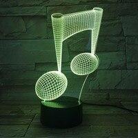 תו מוסיקלי המודרני LED מנורת אור לילה 3D מוסיקלי אשליה Luminaria תאורת מנורת מנורה שליד המיטה 7 צבעים שינוי מצב רוח מוסיקה