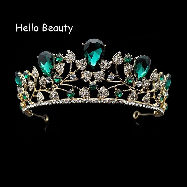 European Beauty Trendy Rhinestone Green Crowns Crystal Prom Bridal Hair Accessories Gold Wedding Tiaras For