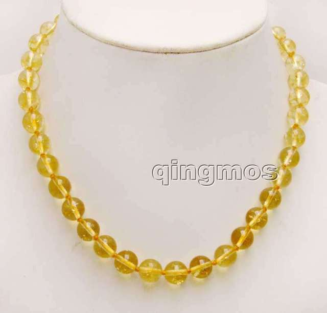 Big 10mm Round Natural Yellow Crystal 17'' Necklace-nec6176 Wholesale/retail Free shipping