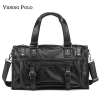VIDENG POLO Brand Fashion Leather Handbags For Men Large Capacity Portable Travel Bags Package Shoulder Bags