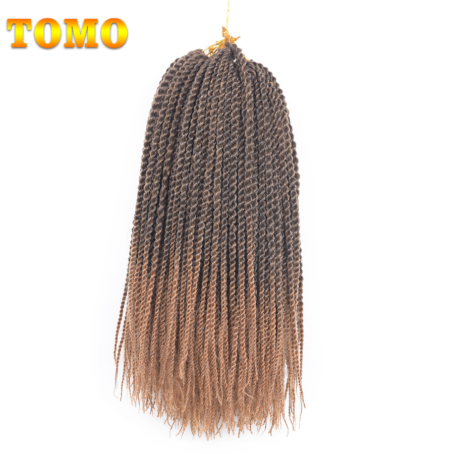 TOMO Products 14 inch Ombre Senegalese Twist Crochet Hair Weave 9packs 30 strands Hign Temperature Fiber Crochet Braids