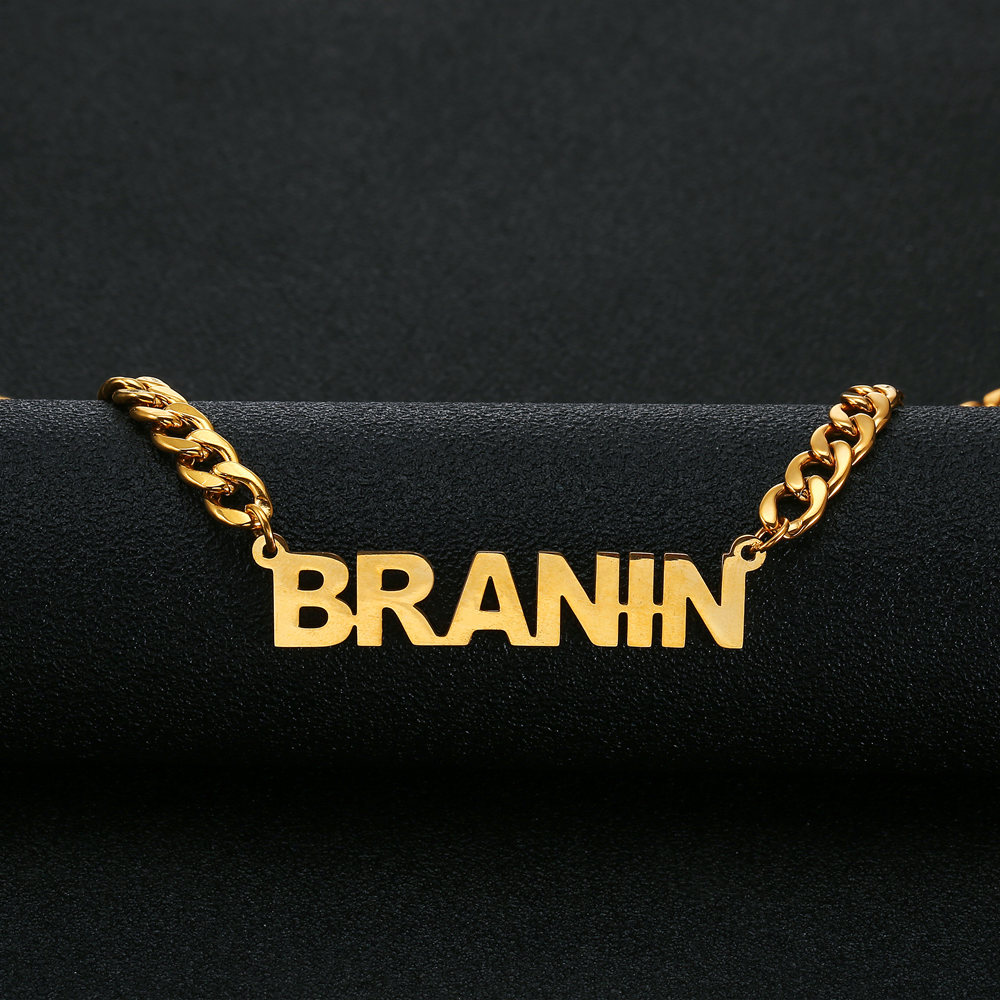 Name Necklace Stainless Steel Choker Gold Color Personalized Nameplated Necklaces Pendants Custom Jewelry Women Man Gift in Pendant Necklaces from Jewelry Accessories