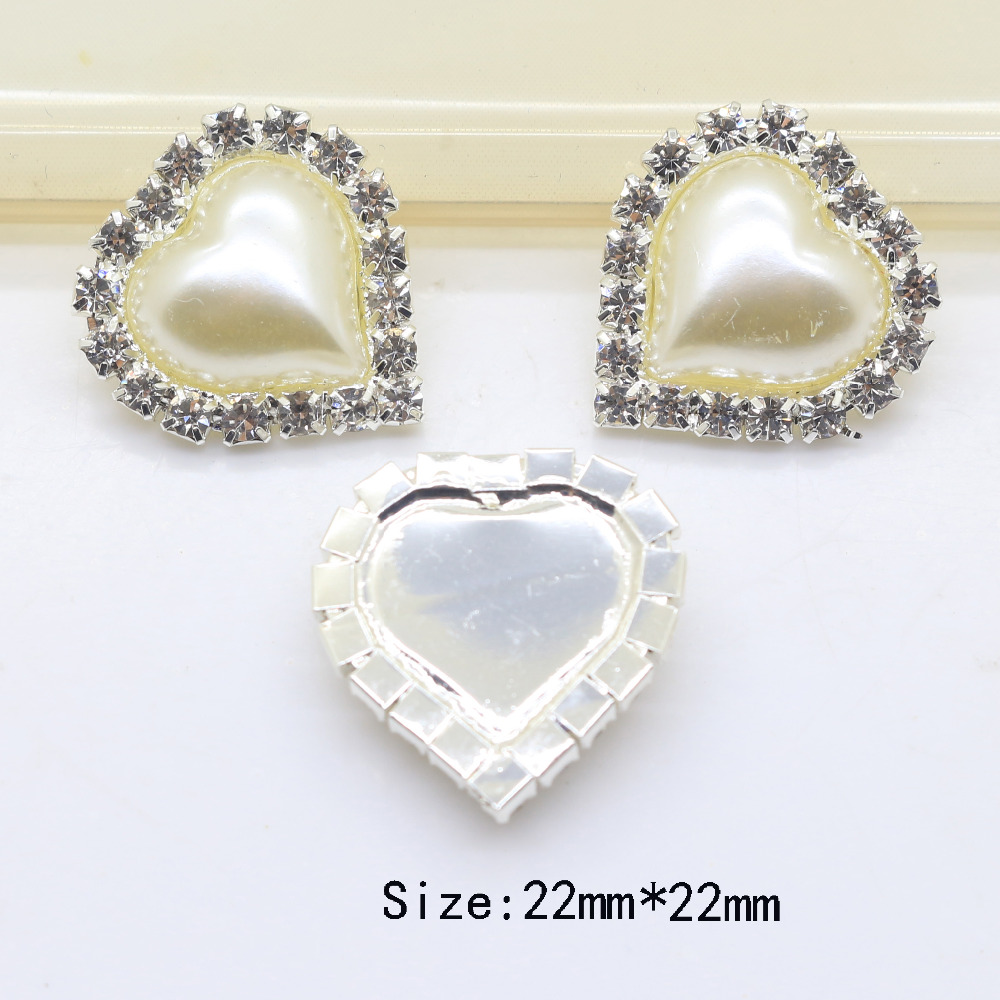 5pcs Set 22 22mm Heart Shaped Shape Rhinestone Buttons