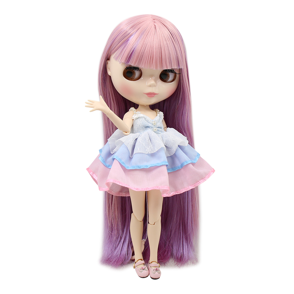 Blyth nude doll 30cm white skin New dream pink purple mixed color straight hair 1 6
