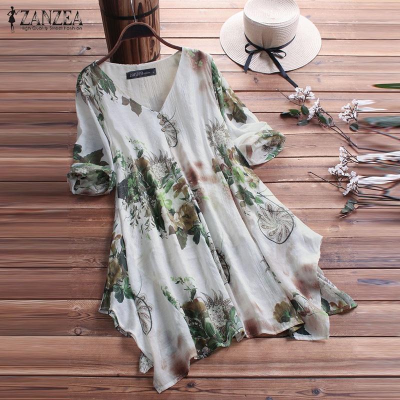 Women Bohemian Blouse ZANZEA Summer V Neck Half Sleeve Tunic Tops Casual Asymmetrical Hem Blusa Femme Robe Party Shirt Plus Size