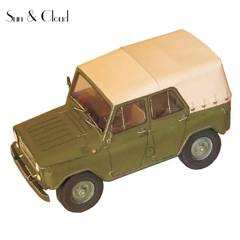 1:25 DIY 3D Russia UAZ-469  Off-road Military Jeep Vehicle Paper Model Second World War Assemble Hand Work Puzzle Game Kids Toy