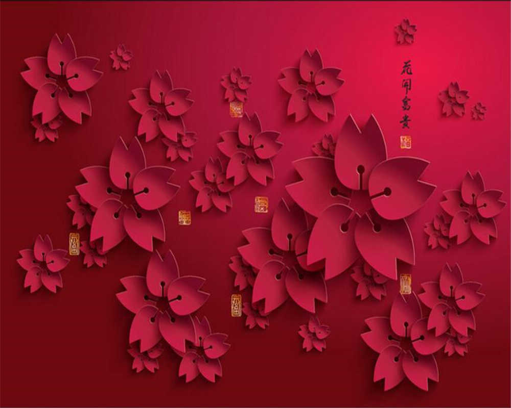Beibehang 3d Wallpaper Hd Red Flower Photo Mural Living Room Home