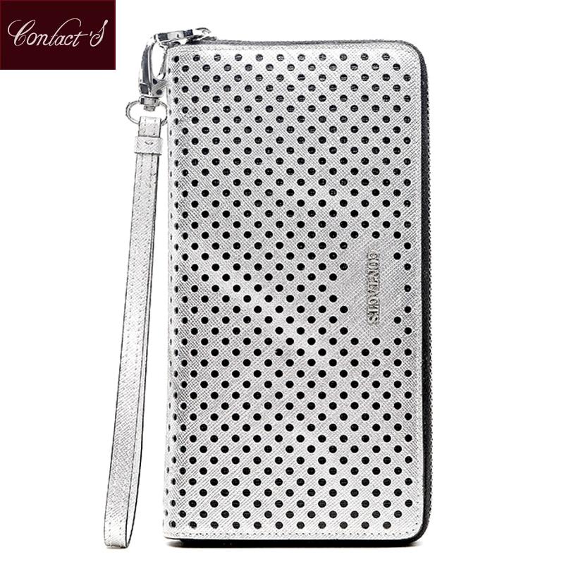 Дамски портфейли за контакти Натурална кожа Модна чанта за маншети с цип около портфейла на съединителя за мобилен телефон и притежател на лична карта